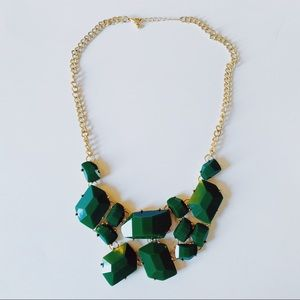 Forever 21 Emerald Green & Gold Statement Necklace